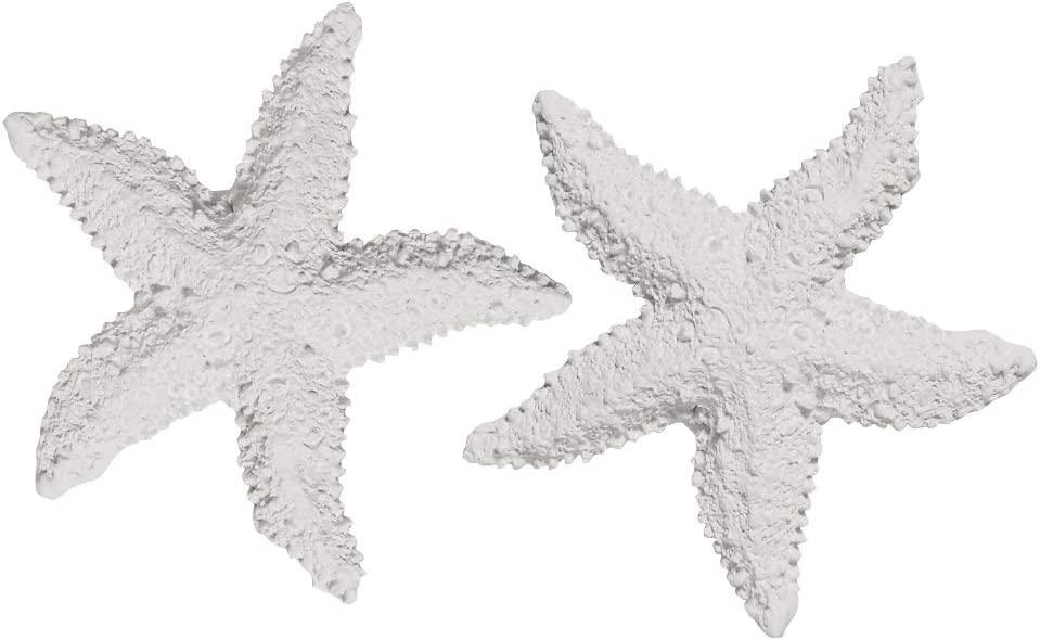 Quickun Aquarium Decoration Artificial Starfish Coral Ornament Silicone Resin for Fish Tank Decor,2 Pieces