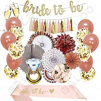 dd6f3f36ea86 Rose Gold Bridal Shower Decorations 37PCS bachelorette gifts Bride To Be  Banner