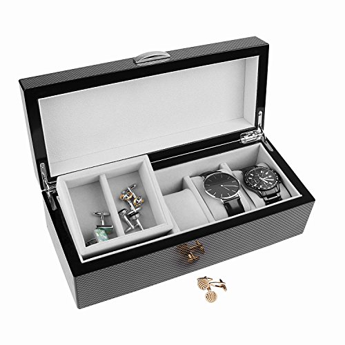 A Comely Lacquer 5-slot Watch Box with 1 Lift-out Tray and 1 Deep Section, High Gloss Storage Wooden Organizer Case for Watches and Jewelry, Carbon Fiber Design