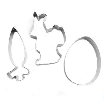 Diseño de cortador de galletas de acero inoxidable moldes molde para galletas para niños, peces, conejo, huevos: Amazon.es: Hogar