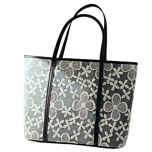 Black Leather Lace Hobo - Top Shop Womens Leather Lace Crochet Shoulder Handbags Casual Totes Shoulder Bags Hobos Black Satchels