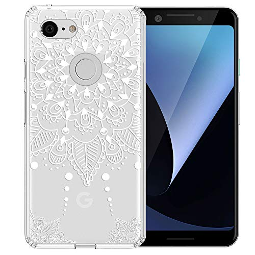 Topnow Google Pixel 3 Case, Clear Design Plastic Hard Back Case with TPU Bumper Protective Case Cover for Google Pixel 3 - White Flower ()