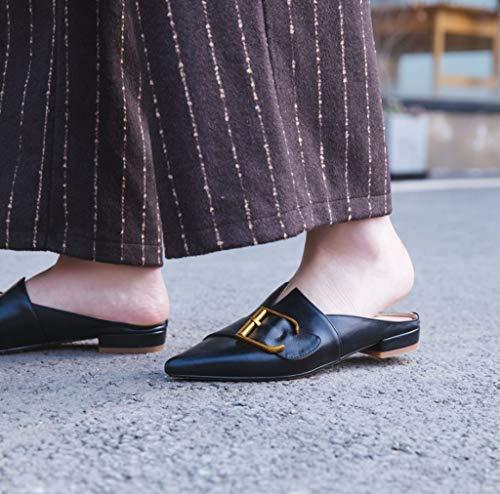 Estiva Sandali Sandali Pelle Vera Dimensioni 35 con Piatti Fibbia Colore Nero Quadrati B5IRxa