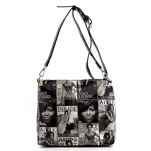 Hobo Q Magazine Obama Glossy Shoulder in black Collage 1 Bag Handbag White 3 Cover Michelle w8qpAwBS