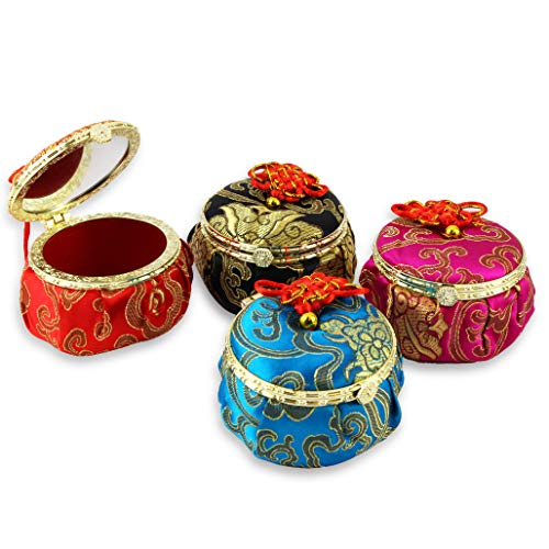 WPYST Set of 4 Vintage Chinese Elegant Brocade Silk Jewelry Box with Lid Round Shape Home Decor P22778