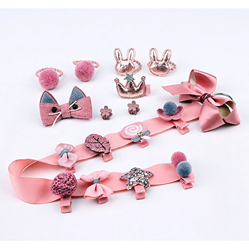 18pcs Toddler Girl Hair Clips Baby Kids Bowknot Barrette Hair Band Birthday Gift (Deep Pink) by handrong (Image #6)