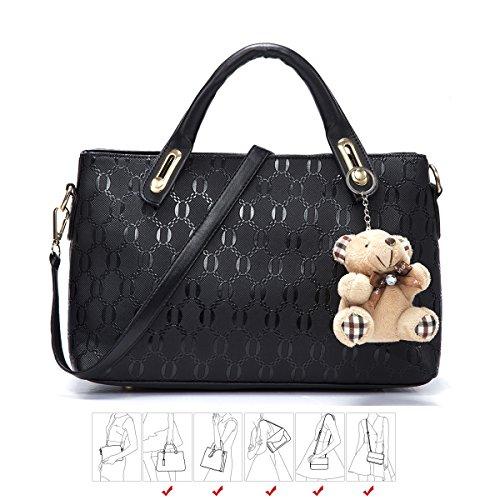 Yellow Bag Tote Set Top Satchel Women Soperwillton 4pcs Handle Shoulder Purse Handbag gP4RC0q