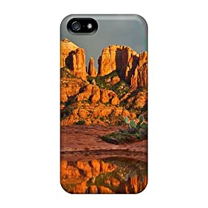 New Hzr11879KphX Reflection Of Rainbow Cathedral Rock Formation Skin Cases Covers Shatterproof Cases For Iphone 5/5s