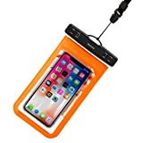 Electronics : Beautiful Safe Individualization Waterproof Bag with Lanyard For iPhone X And 6 inch and Below Baseus Transparent Universal Perfectly match For Iphone X case (Color : Orange)