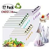 Noblelife Reusable Produce Bags,Mesh Fresh Vegetable Bag Set of 17