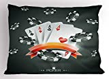Lunarable Poker Tournament Pillow Sham, Artistic Display of The Spread Chips with Poker Cards Lifestyle, Decorative Standard Queen Size Printed Pillowcase, 30 X 20 inches, Charcoal Grey White