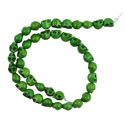 Baoblaze Wholesale 9mmx10mm Turquoise Skull Head Loose Spacer Beads 15 Inch Strand Gemstone Charms for Crafting, Necklace,Bracelet, Jewelry Making Accessories - apple green Apple Green Turquoise Beads
