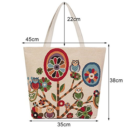 Casual Bag Shoulder Bag Bag Tote Tote Shopping Handbag Flower Travel Satchel Pattern ParaCity Beach Chinese Canvas Totem Embroidery 6IwHAnx