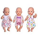 Ebuddy 3 Sets Doll Clothes Dress Swimsuit for 14 to 16 Inch New Born baby Dolls and 18 Inch American Girl