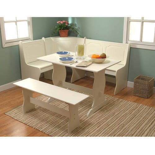 Charming Breakfast Nook 3-Piece Corner Dining Set, Includes Table, Bench, and Nook Bench with Seat that Lifts for Storage, Constructed of Sturdy and Durable MDF, Antique White + Expert Guide