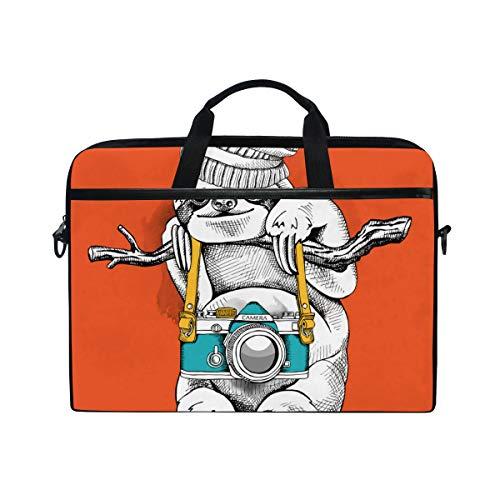 - TARTINY 15-15.4 Inch Laptop Bag Sloth Knitted Hat Camera Vector Illustration Shoulder Messenger Bags Sleeve Case Tablet Briefcase with Handle Strap