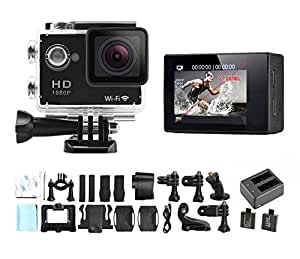 dOvOb SJ4000 Wifi 2.0 Inch Full HD 1080P 12MP Waterproof Action Camera (Black) with Battery Charger and 2 Batteries