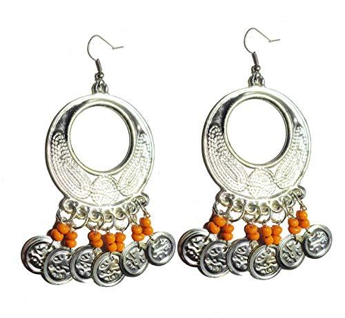 Belly Dance Egyptian Egypt Metal Beads Bead Oriental Earring Dangle Dancing Jewelry Gypsy HandMade Ethnic Tribal 110