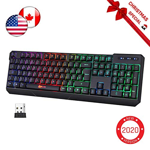 KLIM Chroma Wireless Gaming Keyboard + Slim, Durable, Ergonomic, Quiet, Waterproof, Silent Keys + Backlit Wireless Keyboard for PC PS4 Xbox One Mac + Teclado Gamer + New 2020 Version + Black
