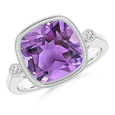 Angara Round Amethyst Halo Ring with Cushion Milgrain Detailing mE4egh