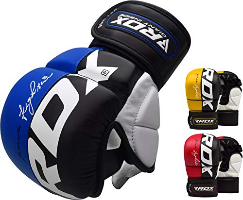 (RDX Maya Hide Leather Grappling MMA Gloves Cage UFC Fighting Sparring Glove Training)