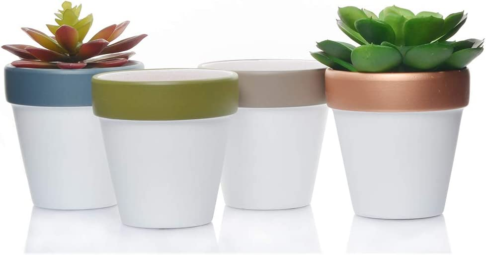 Ceramic Terracotta Flower Pots 4 inch Small Clay Succulents Planter Ceramic Pottery Terra Cotta Flower Pot Cactus Nursery Pots Great Window Boxes, Cacti Plants, Crafts, Wedding Favors 4, White