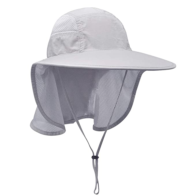 2ee46e09 Lenikis Unisex Outdoor Activities UV Protecting Sun Hats with Neck Flap Grey
