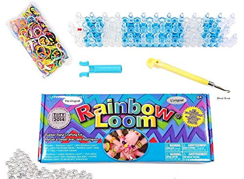 Rainbow Loom Crafting Kit includes Loom, Metal Hook, Mini Rainbow Loom, 600 Rubber Bands + 24 Clips (Rubber Band Bracelets Kit)