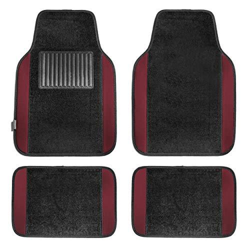 (FH Group F14407BURGUNDY Premium Full Set Carpet Floor Mat (Sedan and SUV with Driver Heel Pad Burgundy))