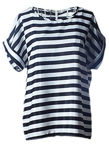 erdbeerloft - Damen stylisches T-shirt mit Streifen, Fledermausärmel, 34-42, Weiß