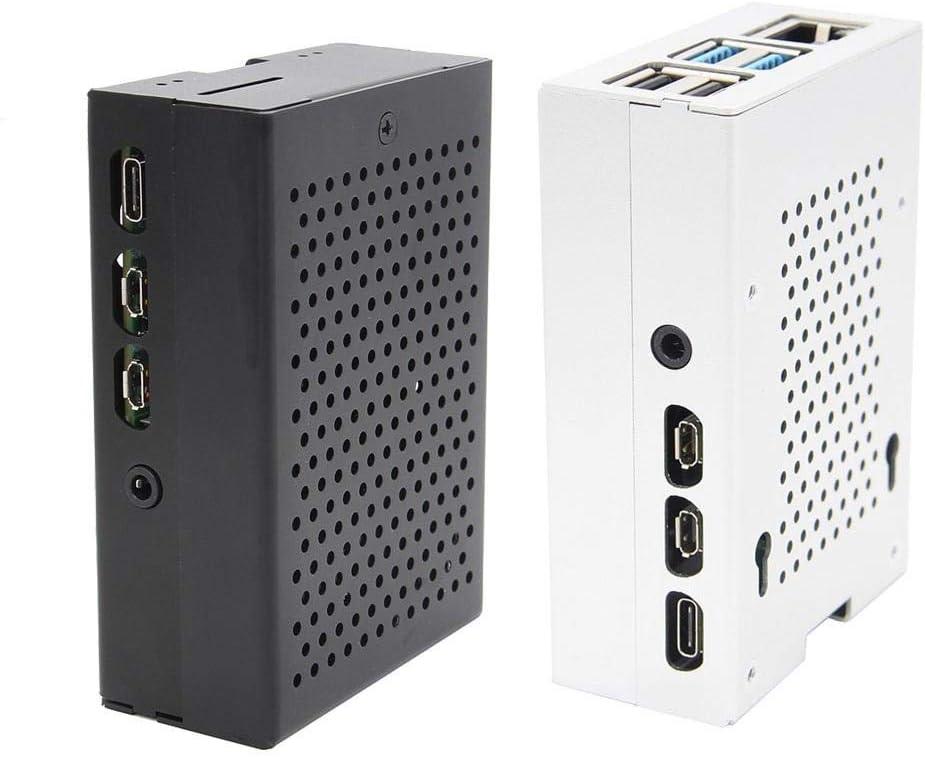 Color : Black Nrthtri smt Silver//Black Aluminum Case Enclosure Shell with Cooling Fan Fit for Raspberry Pi 4 Model B Board