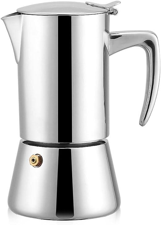 Fdit - Cafetera italiana de acero inoxidable, 200 ml, apta para ...