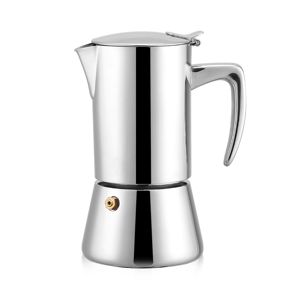Stainless Steel Coffee Maker, Asixx 200ml Stainless Steel Moka Pot Espresso Coffee Maker Coffee Pot for Gas & Electric Stovetop