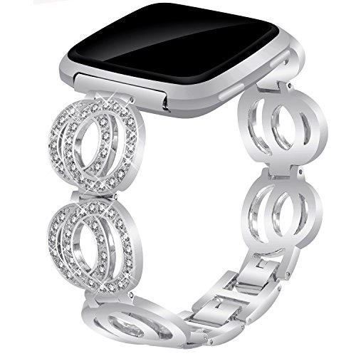 Compatible for Fitbit Versa/Versa Lite Edition/Versa Special Edition, VOMA Stainless Steel Metal Bands Bracelet Strap for All Fitbit Versa Edition Classic Silver
