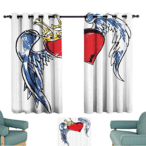 Detroit Red Wings Valance - DILITECK Sliding Curtains Tattoo Decor Grunge Heart Figure with Wings and Crown Forever Kingdom of Love Symbol Graphic Blackout Draperies for Bedroom Window W84 xL72 Red Blue