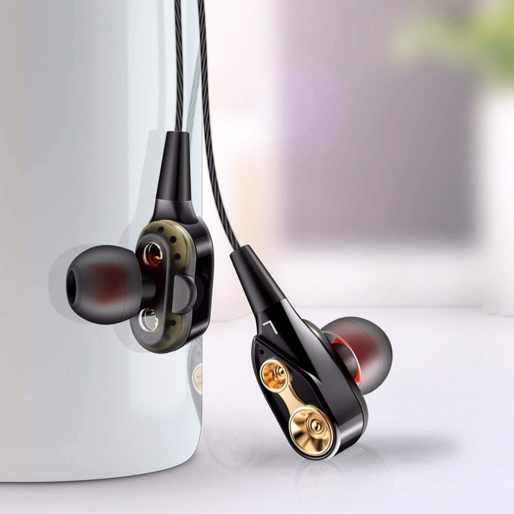 Running Headphones Dual Driver in Ear Sport Earbuds Earphones with Mic Wired Stereo Workout Ear Buds for Jogging Gym Cell Phones Headset Black