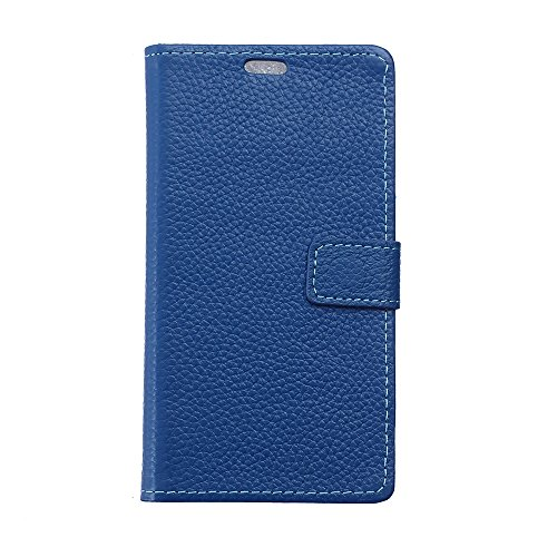 Premium Genuine Leather Litchi Skin Texture Wallet Pouch Case Flip Stand Cover Shell with Card Slots For Samsung Galaxy J7 2017 European Version ,by CNBEAU ( Color : Blue )