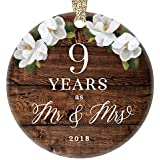 "Christmas 2018 Tree Ornament 9th Ninth Wedding Anniversary Ceramic Collectible Husband Wife Couple Married Nine Years Rustic Floral Design 3"" Flat Porcelain Keepsake with Gold Ribbon & Free Gift Box"
