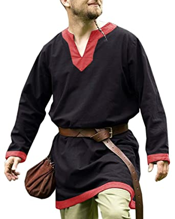Karlywindow Mens Medieval Renaissance Tunic V Neck Viking Pirate Cosplay Costume Shirt