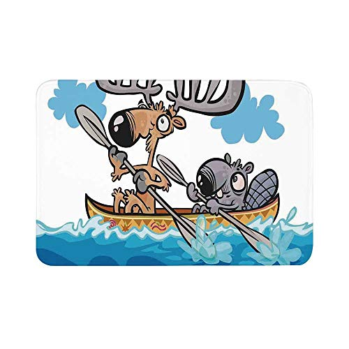 C COABALLA Moose Durable Door Mat,American Animals Boat Beaver Friend Canoe River Fun Native Characters Cartoon for Living Room,19.6