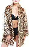 YOSUNL Women's Fake Fur Leopard Coat Winter Warm Lapel Outwear Long Sleeve Loose Parka with Pockets 3XL