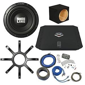 "Bass Package - Alpine Bassline 10"" Subwoofer w/ box, DUB 200 watt amp, Wiring Kit, and Alpine Grille"