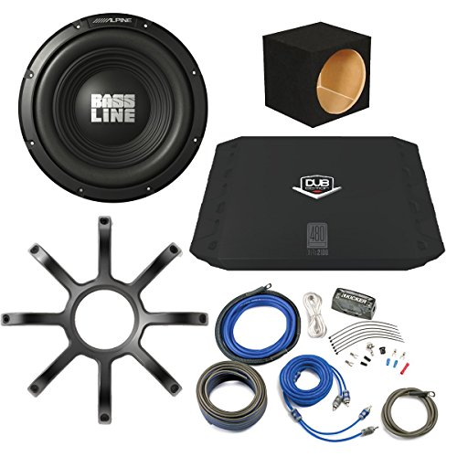 "Bass Package - Alpine Bassline 10"" Subwoofer w/ box, DUB 200 watt amp, Wiring Kit, and Alpine Grille"