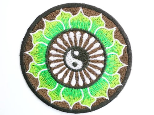 """Ying Yang Green Psychedelic Hippy Lotus Taoism Iron On Embroidered Patch 3.2""""8.4cm x 3.2""""/8.4cm By MNC Shop"""