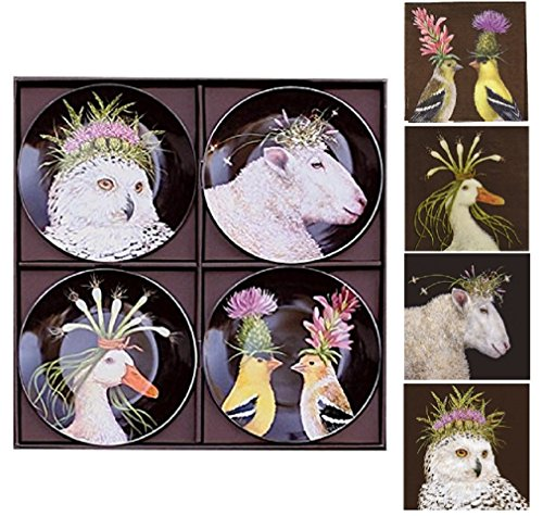 (Paperproducts Design Set of 4 China Plates bundle with Matching Beverage Napkins, Wild & Wooly)