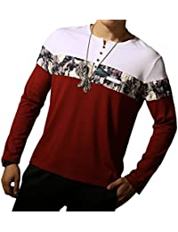 "<span class=""a-offscreen"">[Sponsored]</span>Men's Casual Slim Fit Long Sleeve Color Block Printing Henley T-Shirts"