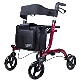 ELENKER Portable Medical Euro Style Rollator Walker, Compact Folding Walker Red