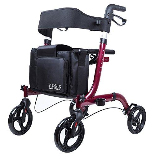 (ELENKER Portable Medical Euro Style Rollator Walker, Compact Folding Walker Red)
