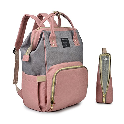 Qimiaobaby Diaper Bag Nappy Bag Travel Backpack Waterproof Multi-Function Mommy Bag for Baby Care Large Capacity Stylish and Durable Perfect for Travel Work or Outing (Pink with gray)