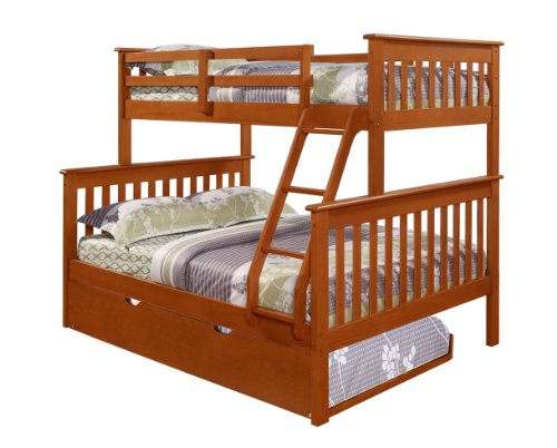DONCO Bunk Bed Twin Over Full Mission Style in Espresso with Trundle
